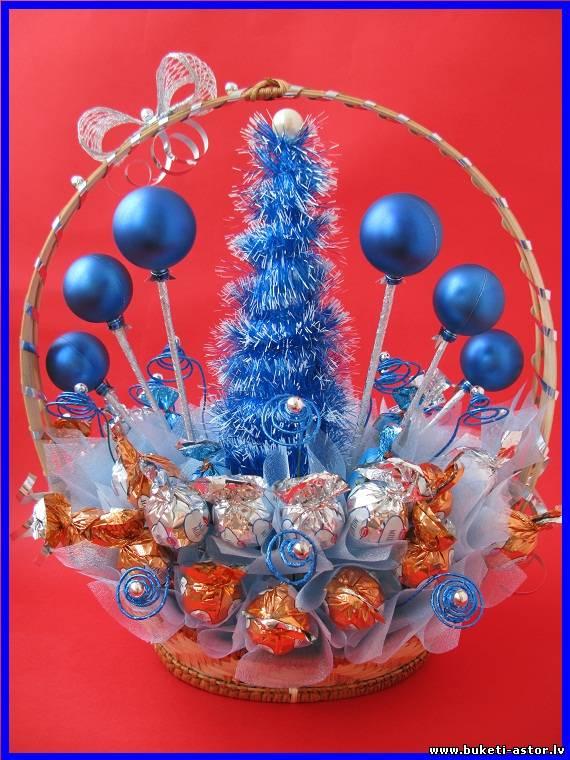 Новогодние корзины с конфетами своими руками