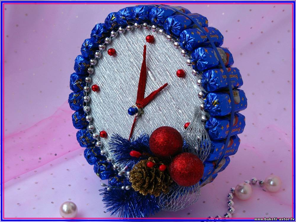 Новогодние композиции своими руками фото из конфет