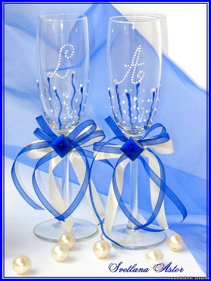 Свадебных бокалов своими руками синий 25