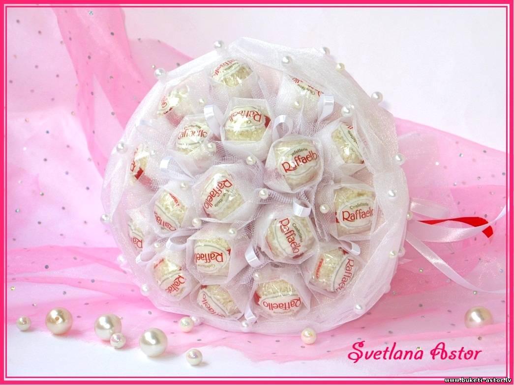 Букет из конфет рафаэлло и органзы своими руками