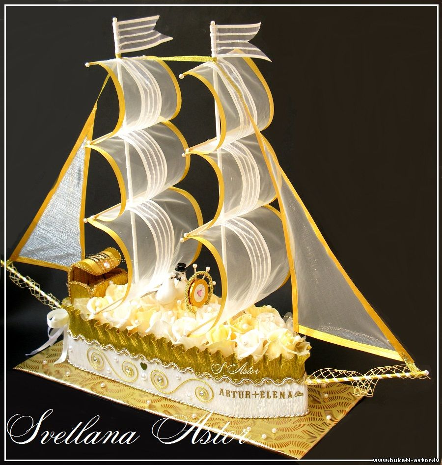 Поздравление к кораблю из конфет 40