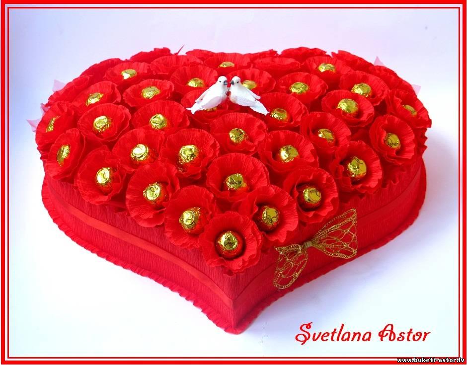 Как сделать сердце с конфетами из гофрированной бумаги