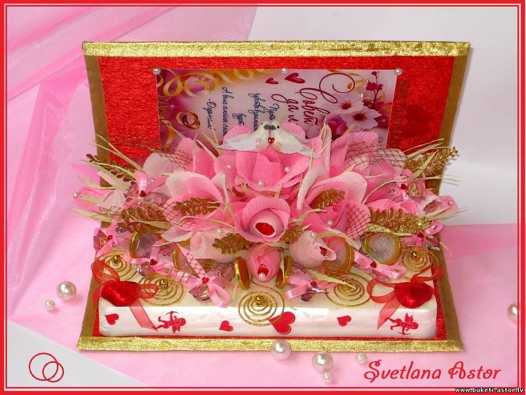Подарки своими руками из конфет и пожеланий 58