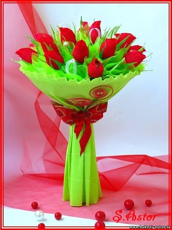 Букеты роз из конфет своими руками фото