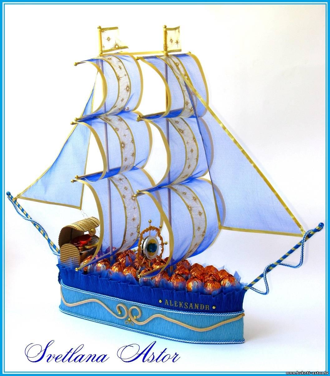 Корабль из конфет пошаговая инструкция фото