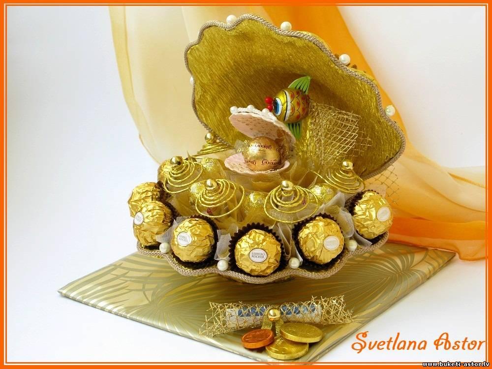 Золотая рыбка из конфет своими руками подробно мастер класс