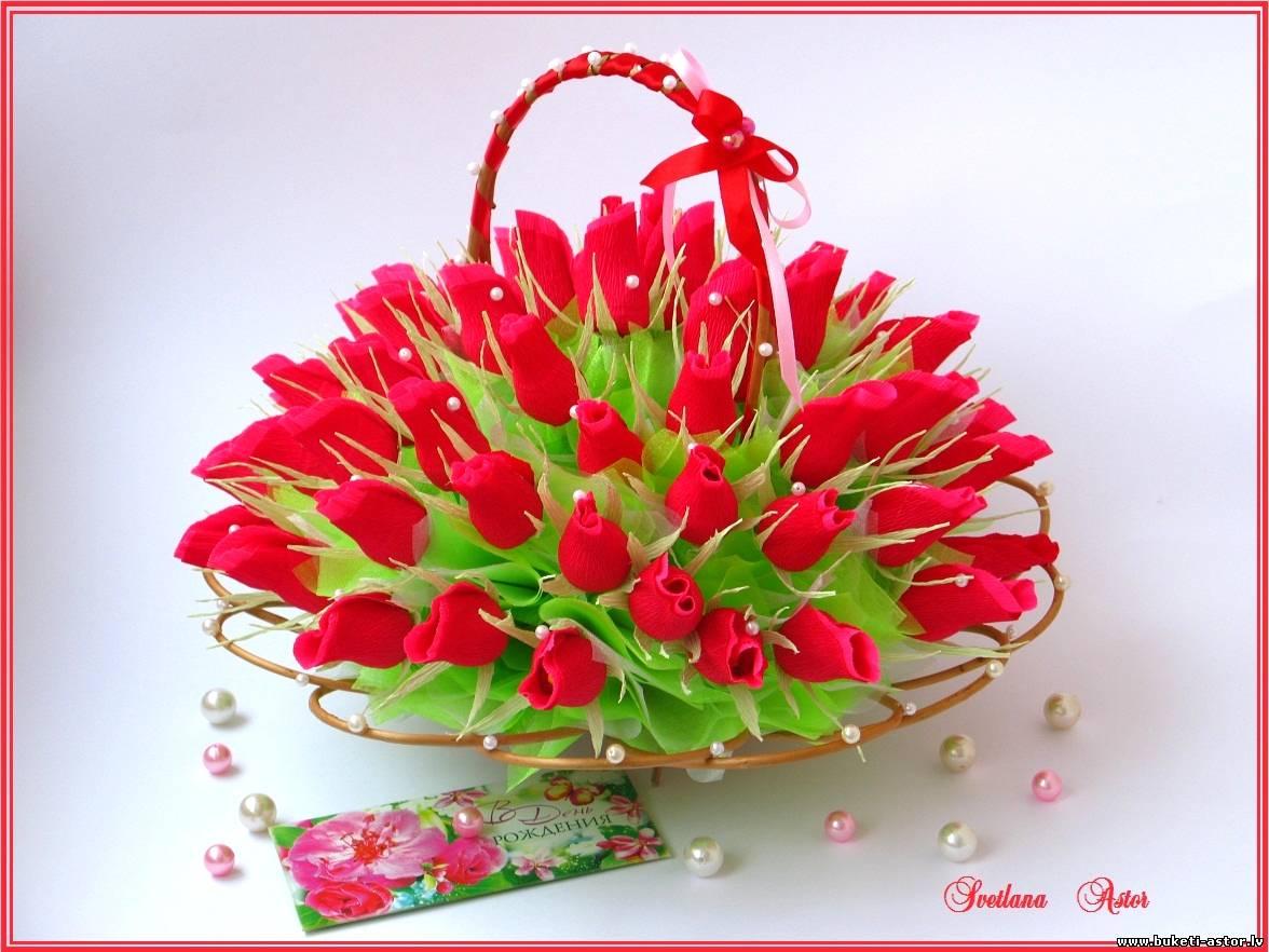 Букет из конфет своими руками корзина с розами