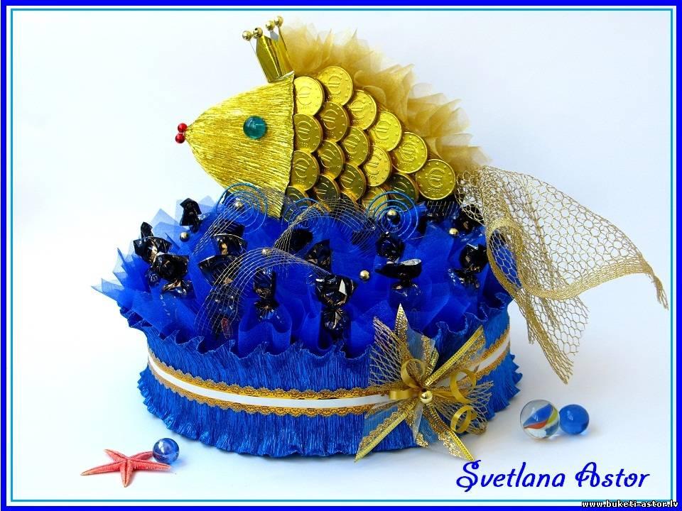 Золотая рыбка из конфет своими руками пошаговое фото для начинающих 23